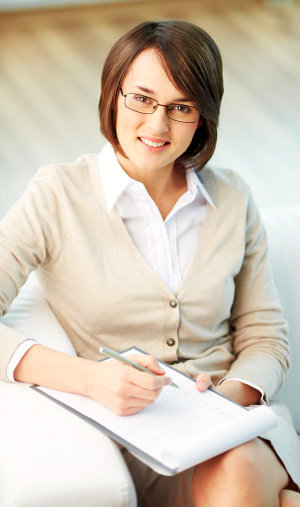 female counsellor with glasses
