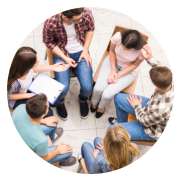six people in a counseling session